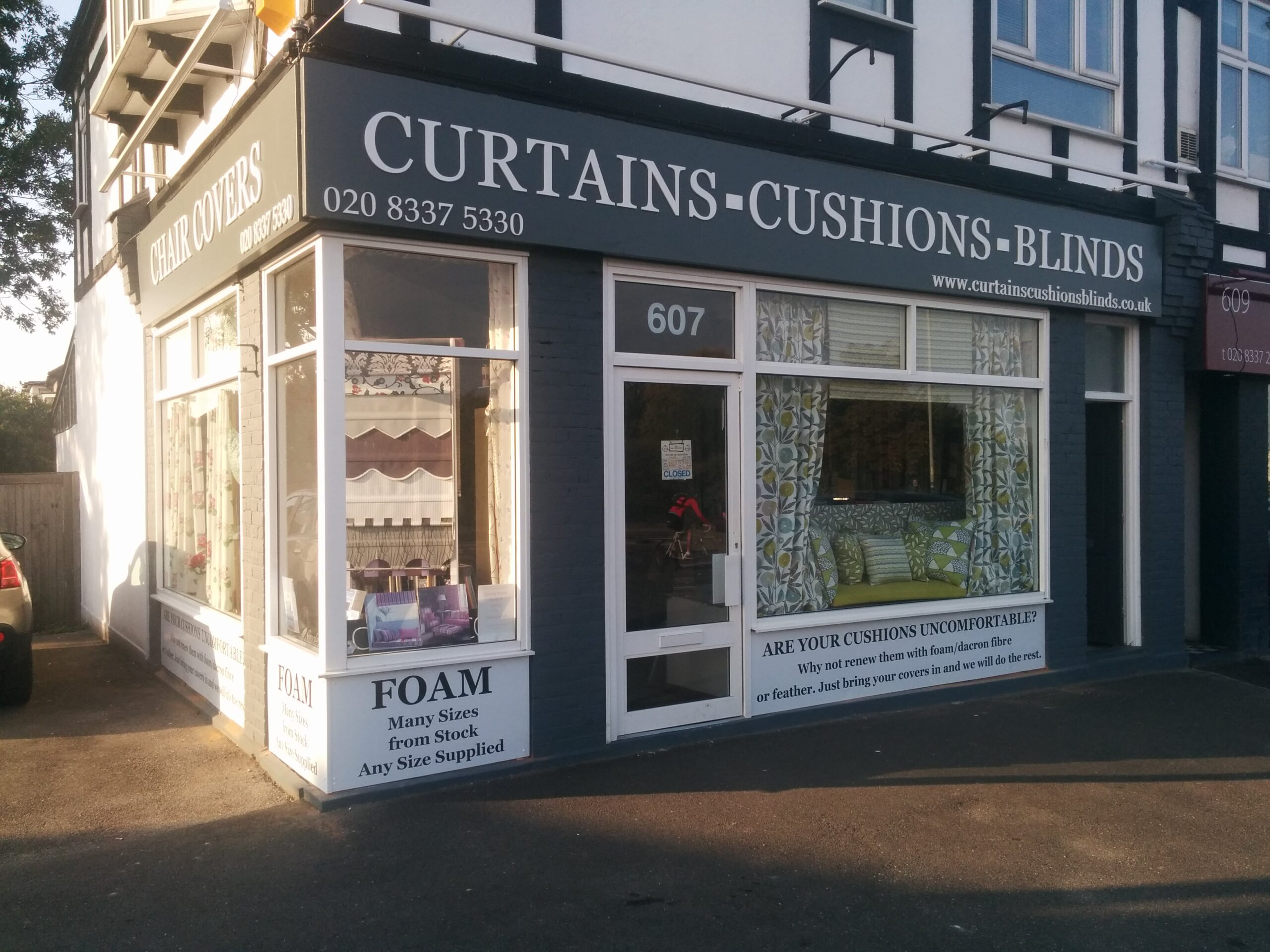 The exterior of our Curtains Cushions Blinds Shop in London Road, North Cheam, SM3 9DF